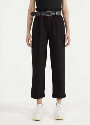 Брюки со сборкой на талии и ремнем, оригінальні чорні джинси, ...