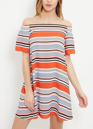 Красивое воздушное платье в полоску спущенные плечи 18/52-54 р...