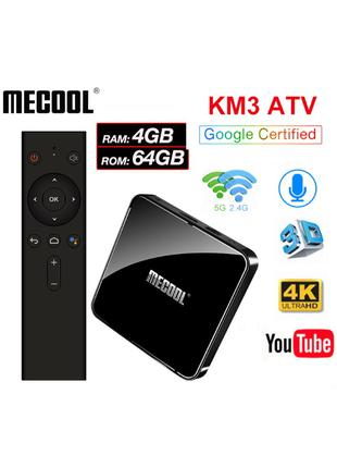 Mecool KM3 4/64Gb TV Box смарт тв приставка Mi box s KM1 KM9 Pro
