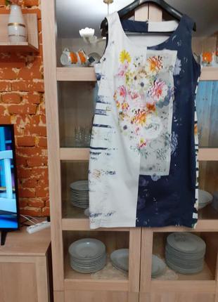 Стильное котоновое на подкладке платье большого размера