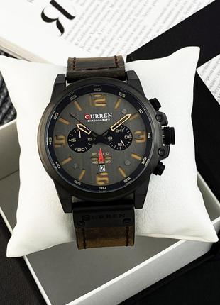 Оригинальные мужские наручные часы Curren Черно-Коричневые