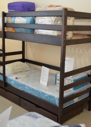 Кровать Двуярусная 80х200 из натурального дерева, массив сосны