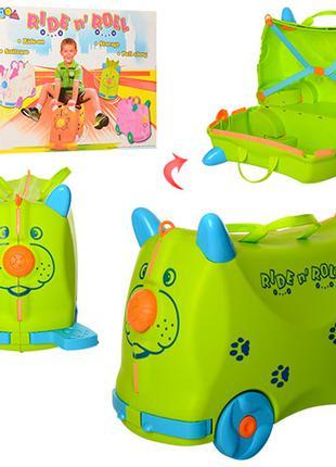 Детский чемодан толокар каталка Ride n Roll зелёный