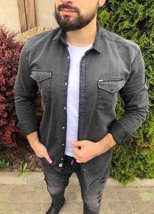 Рубашка джинсовая серая 18074