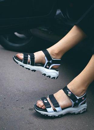 Женские босоножки skechers d'lites sandal black ◈ сандали черного