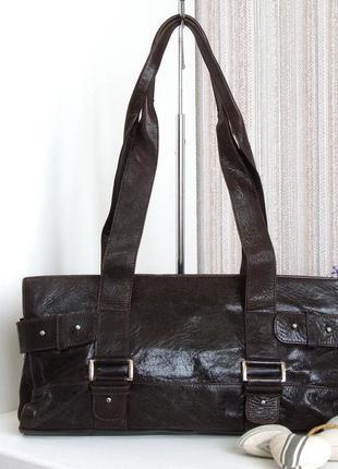 Стильная практичная сумка calamita, италия, натуральная кожа