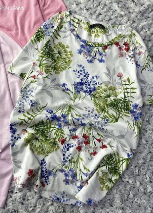 Хлопковая футболка в цветочный принт marks&spencer