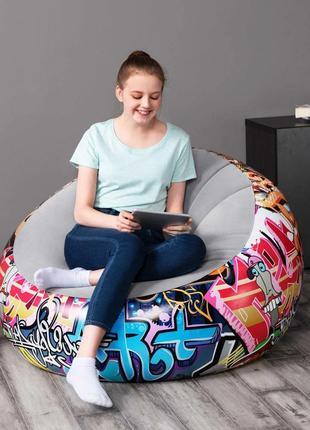 Надувное велюровое кресло с ремкомплектом Bestway 75075 (112*112*