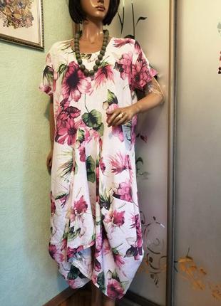 Льняное платье батал италия
