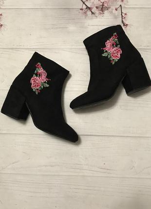 Ботильоны сапоги деми вышивка цветы модные замшевые