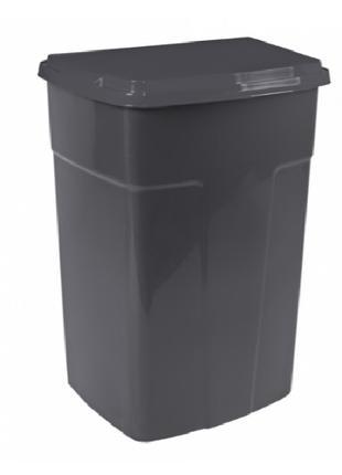 Бак для мусора 90 литров с крышкой первичный пластик цвет серый