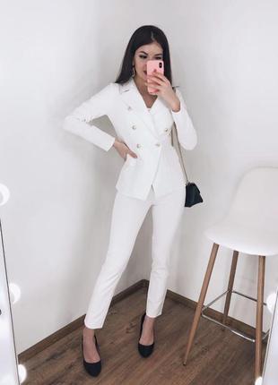 Новинка! брючный классический повседневный костюм белый пиджак...