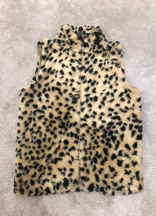 Жилетка(безрукавка) женская леопардовая пушистая 🚚🚚🚚 доставка ...