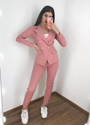 Новинка! брючный классический повседневный костюм розовый пидж...