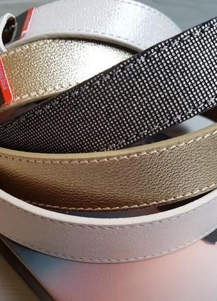 Серебристый кожаный ремень из итальянской кожи