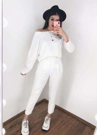 Новинка! брючный классический повседневный белый костюм блуза ...