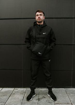Спортивный костюм мужской Найк, Nike черный. Барсетка в Подарок