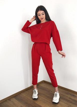 Новинка! брючный классический повседневный красный костюм блуз...