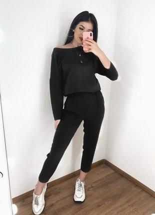 Новинка! брючный классический повседневный черный костюм блуза...