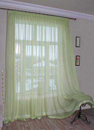 Тюль, штора из вуали салатовая