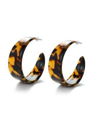 Стильные круглые серьги леопардовый стиль черепаховые винтаж