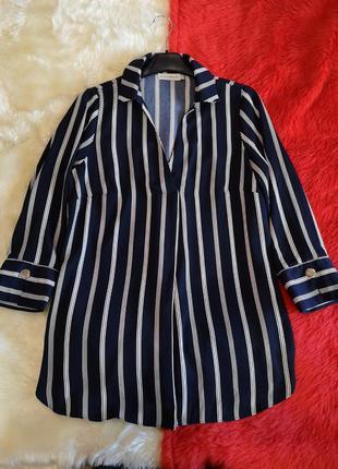 Скидка дня удлинённая блуза туника в полоску короткое платье
