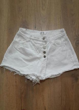 Классные белые шорты - юбка с высокой талией. yamei. размер m ...