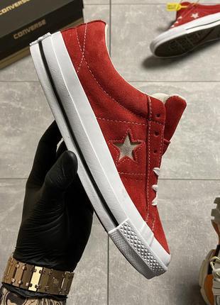 Красные женские кеды converse one star premium suede red.