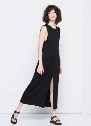 Sale актуальное платье миди в рубчик оверсайз м