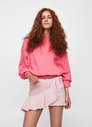 #розвантажуюсь пудровая джинсовая юбка с воланом  рюшем рюшами...