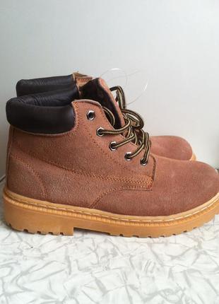 Кожаные замшевые зимние ботинки  36 37 38