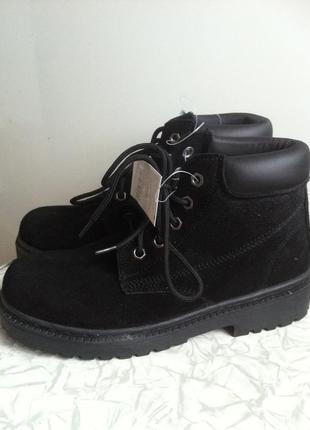 Кожаные замшевые зимние ботинки  37