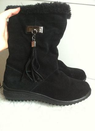 Кожаные замшевые сапоги ботинки зимние 37