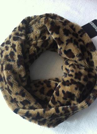 Меховый мягкий леопардовый шарф снуд хомут amisu