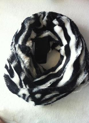 Меховый  мягкий шарф снуд хомут amisu