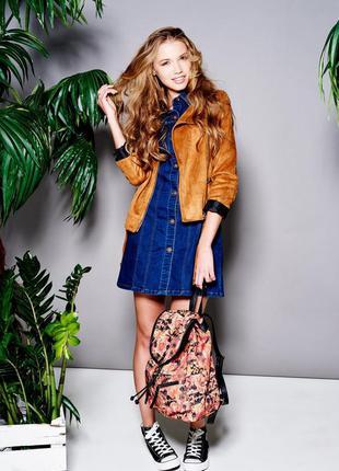 Sale актуальное джинсовое платье на пуговицах с юбкой трапеция...