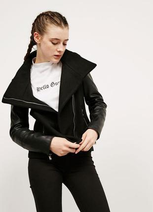 Sale шерстяное пальто косуха кожанка куртка bershka  s