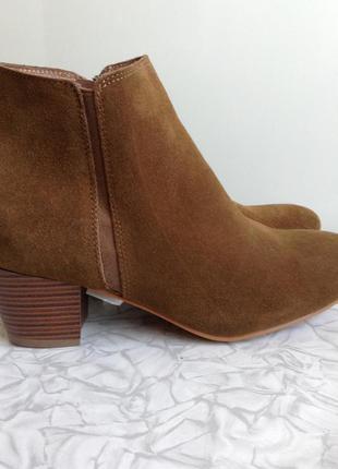 Кожаные замшевые ботинки сапоги ботильоны в стиле zara 38