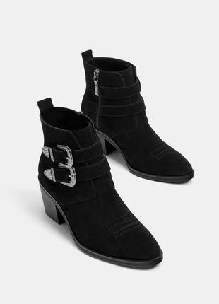 Кожаные замшевые ковбои казаки сапоги ботинки ботильоны bershka