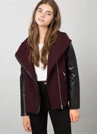 Sale шерстяное пальто куртка косуха кожанка цвета марсала bers...