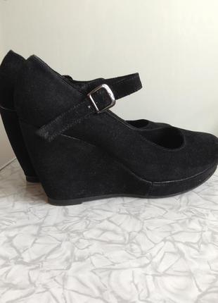 Sale кожаные замшевые туфли в стиле zara на платформе на танкетке