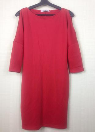 Sale красное платье с открытыми плечами в стиле zara s
