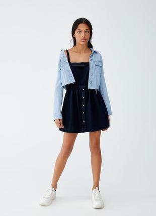 Sale джинсовое платье сарафан с юбкой трапеция на пуговицах pu...