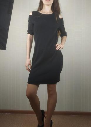 Sale черное платье в мелкий рубчик s