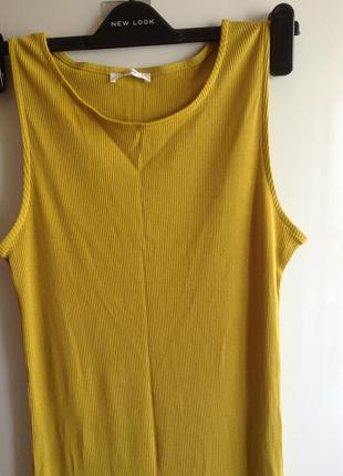 #розвантажуюсь горчичное платье миди в рубчик l