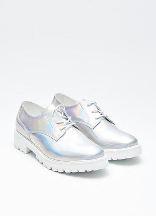 Sale зеркальные цвета металлик туфли оксфорды ботинки cropp 37