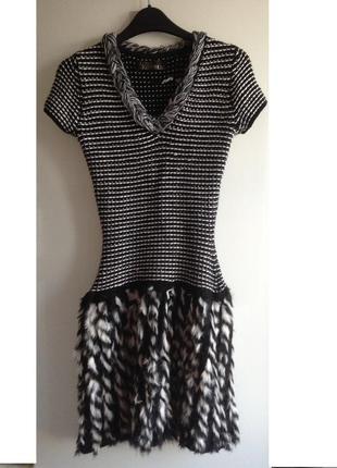 Sale шикарное платье шуба с мехом кролика love republic xs s