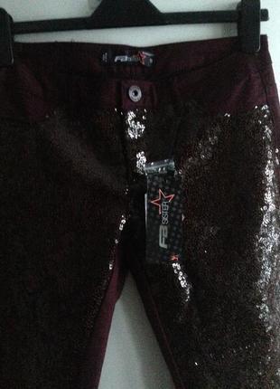 Sale джинсы марсала с вышивкой пайетками amisu s