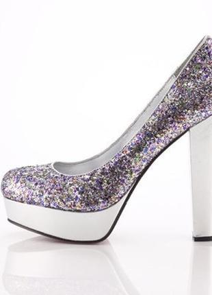 Sale туфли цвета металлик с блестками на праздник 37