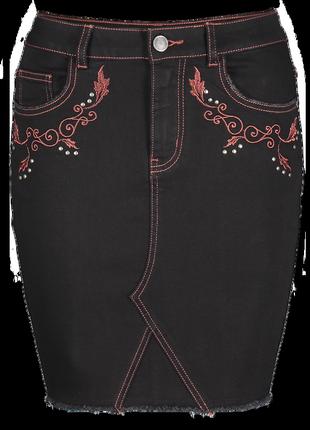 #розвантажуюсь джинсовая юбка на высокой талии с вышивкой amis...